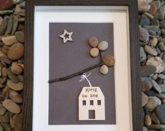 New home gift. Handmade Irish pebbleart.