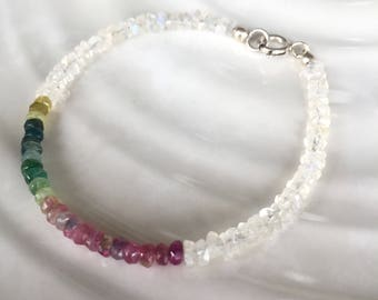Dainty Rainbow Moonstone and Tourmaline Beaded Stacking Bracelet