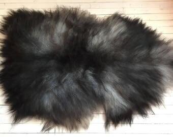 Sheepskin rug soft, volumous throw sheep skin long haired Norwegian pelt natural grey black 17226