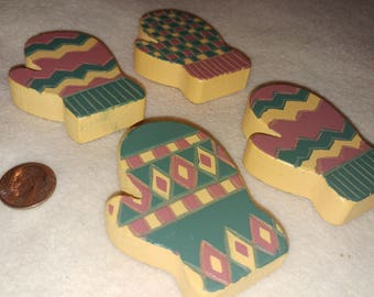 little wooden mittens, cute hand painted