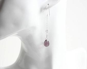 Amethyst Earrings - Sterling Silver Earrings - February Birthstone Earrings - Gemstone Earrings - Purple Faceted Silver Earrings