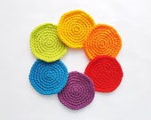 Rainbow Coasters Set  Crocheted  Bright Acrylic Yarn  Red Orange Yellow Green Blue Purple  Fun  Useful  Ready To Ship