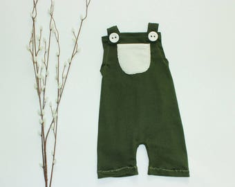 Baby Boy Romper, Christmas Baby Outfit, Green baby shorts, Newborn Outfit, Baby overalls, Christmas baby boy outfit, Baby first Christmas