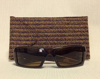 Welsh tweed wider glasses/spectacles/sunglasses case in dark red & dark gold stripe