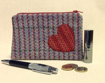Welsh tweed zipped coin purse/change purse in multi coloured blue weave with red appliqued heart
