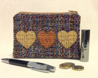 Welsh tweed zipped coin purse/change purse in multi coloured brown weave with yellow & oange appliqued hearts
