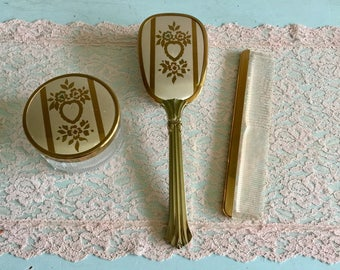 Midcentury Vanity Set brush and comb set powder jar dresser set