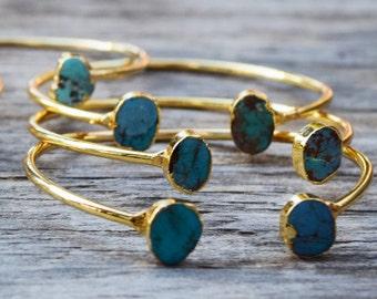 Raw Turquoise Bracelet, Free Form Turquoise Cuff Bracelet, Gold and Turquoise Stone Bangle, Druzy Style Stone Cuff, Genuine Turquoise