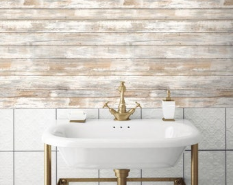 Distressed Wood Peel and Stick Wallpaper Gray Brown White 3D Realistic Reclaimed Barnwood RMK9050WP - Sold by the Yard