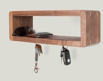 Entranceway Walnut Floating Shelf - with magnet key holders