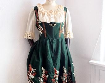 Dirndl Trachten Oktoberfest Dress 2 pc green / floral embroidered/ lace blouse / German Folk Traditional Oktoberfest Bavaria fashion US 12