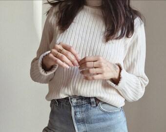 90s MINIMAL RIBBED TURTLENECK // Ivory Ribbed Turtleneck Minimal Sweater Ribbed Sweater Cotton Xs Small Med Large Basics Preppy