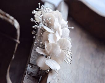 White hydrangea hair comb, wedding hair comb,  bridal hair comb, hydrangea flowers, rustic hair comb, rustic hair accessories