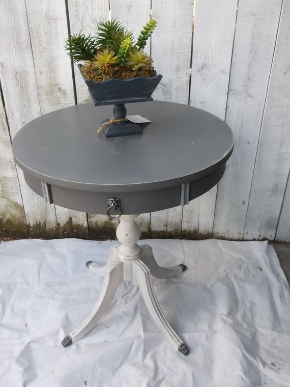 Vintage Drum Table Duncan Phyfe Round Accent Table French
