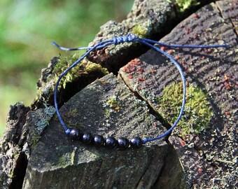 Shungite string beaded bracelet, chakra balancing bracelet, healing mineral inspirational bracelet, natural stone bracelet, yoga bracelet