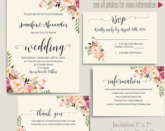 Printable Wedding Suite, Invitation, RSVP, information and thank you cards, Instant Download Self Editable templates PDF A239-IC116