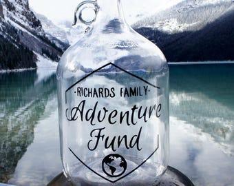 Adventure Fund Travel Gift Jar! Honeymoon Fund, Wedding Fund, Savings Fund, gift for couples, anniversary, gift for traveler, travel bank