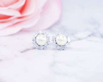 Pearl Cubic Zirconia Stud Earrings, Bridesmaid Gift, Be My Bridesmaid, Bridal Party Gift, Bridesmaid Proposal, Custom Name, Bridal Earrings