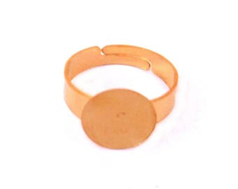 set of 16 12mm gold plate Adjustable ring blank rings