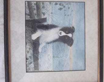 Framed painting SHEEPDOG IN WINTER! small, signed, cornish