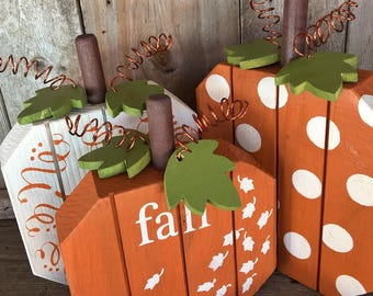 Adorable Set of 3 Fall Pumpkins Painted with Dots, Stripes & Swirls  Wood Pumpkins