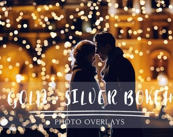 65 Gold and Silver Bokeh Photoshop Overlays, gold bokeh overlays, christmas bokeh, photoshop overlays