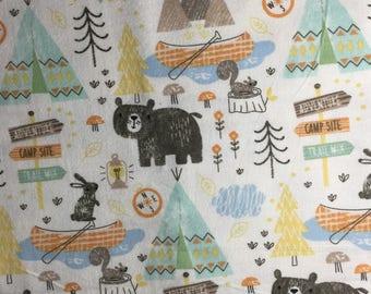 boppy cover replica woodland camping friends, breastfeeding pillow slipcover bear, teepee, canoe nursery