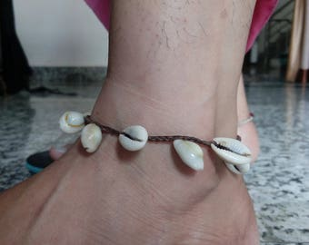 shell anklet Hand Made Hemp Shell Anklet with Cowrie Shells, Small Ankle Sea Gypsy