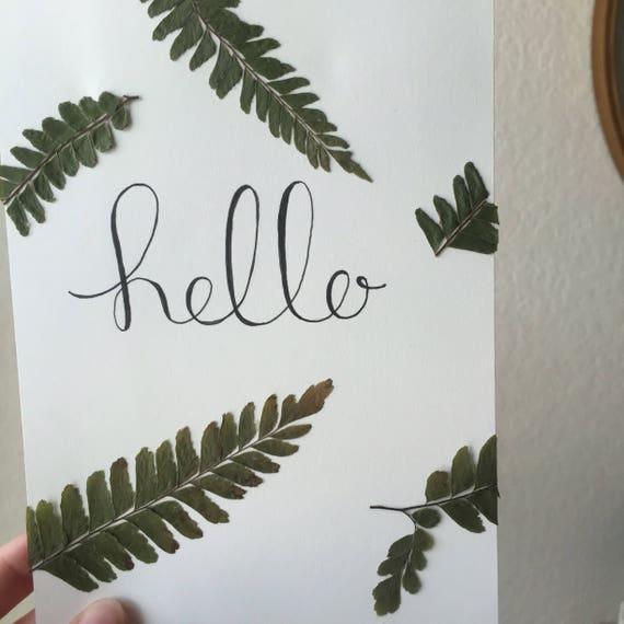 Hello Fern Art- 5x7 Herbarium- Pressed Botanical - Framed Floral Art-  Pressed Flowers- Specimen Art- Calligraphy Word Art- Welcome Art