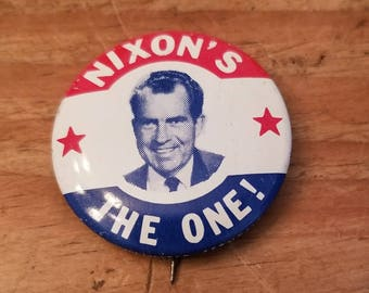 Classic 1968 NIXON'S THE ONE! campaign button