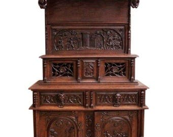Well Carved Antique French Gothic Cabinet, Medieval with Battle scenes, Oak #8144
