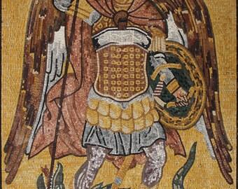Saint Michael Arhcangel Religious Art Marble Mosaic FG673