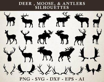Deer SVG, Moose SVG, Antler SVG, Deer Moose Antlers Silhouette Cut Files Vector svg dxf eps png Clipart Silhouette Cricut Cameo & Transfer