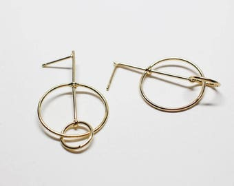 E0213/Anti-Tarnished Gold Plating Over Brass +Sterling Silver Post/Geometrical Stud Earrings/36x20.5mm/2pcs