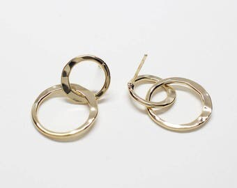 E0230/Anti-Tarnished Gold Plating Over Brass+Surgical Post/Double Hammered Circles Stud Earrings/12.5mm,17.5mm Circles/2pcs