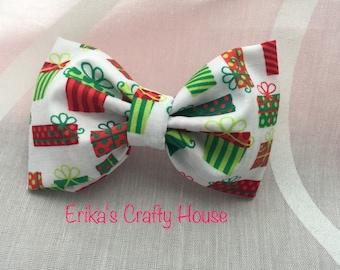 Fabric hair bow, holiday hair bow, Christmas hair bow, hair bow. presents print bow.