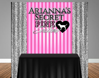 Victoria's Secret Pink 5x6 Table Banner Backdrop/ Step & Repeat, Design, Print and Ship!