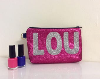 Personalised cosmetic bag, Glitter wash bag, glitter makeup bag, personalised bag, makeup bag, pencil case, pink glitter bag