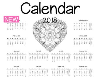 Year 2018 coloring Calendar + coloring page - Heart - planner, printable, coloring book, filofax, Fleurdoodles, journal scrapbook