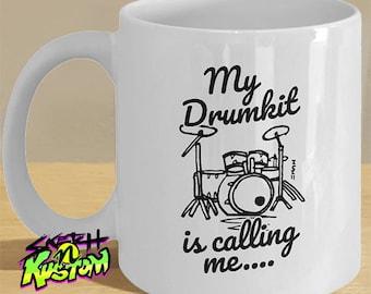 Drumkit Mug Gift for Drummer, Funny Drummer Gifts, Drumming Drum Kit Art Gifts 'My Drumkit is Calling Me'