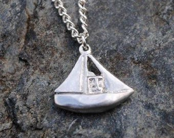 Fishing Boat Pewter Pendant