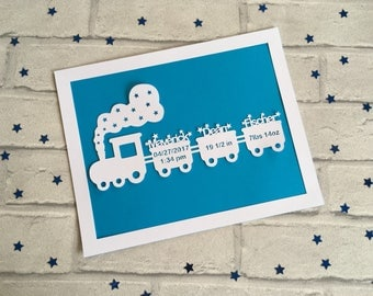 Train nursery etsy baby boy gift new baby gift nursery decor paper cut personalised gift negle Gallery
