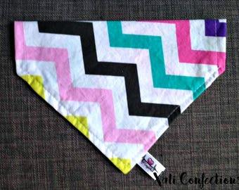 Dog's bandana - Dog's collar - Multicolor chevrons - dog's accessories - cat's bandana - cat's accessories