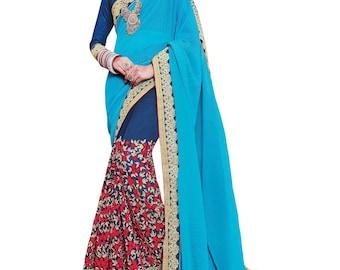 Indian Pakistani designer party wear saree ethnic bollywood wedding lehenga Georgette Sky Blue sari