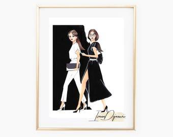 Fashion Illustration Print Black and White outfit Girls Fashion Poster Fashion Wall Art Decor Fashion Sketch Black and White