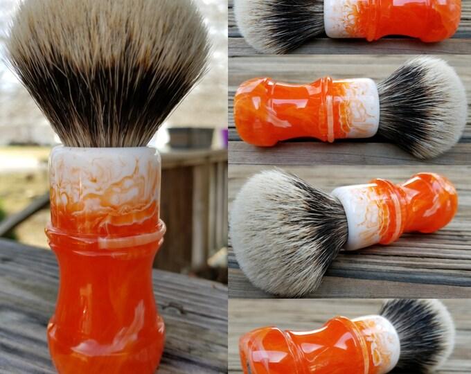 Orange and White Shaving Brush, Handmade, Free Shipping