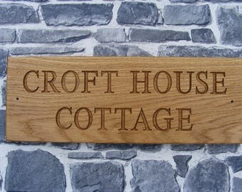 House Name Plaque, Personalised Wooden House Name Sign/Outdoor Engraved Oak Business Sign