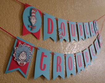 Dr. Seuss Inspired Banner, Thing 1 and Thing 2, Now in Baby Blue!
