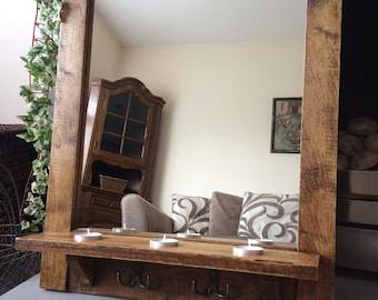 Reclaimed Mirror, Pallet Mirror, Rustic Mirror, Pallet Wood, Bathroom Mirror, Hallway Mirror, Reclaimed Wood, Handmade Mirror, Tealights