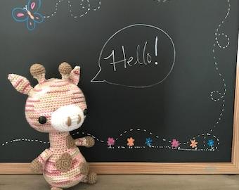 Pink and brown crochet Giraffe